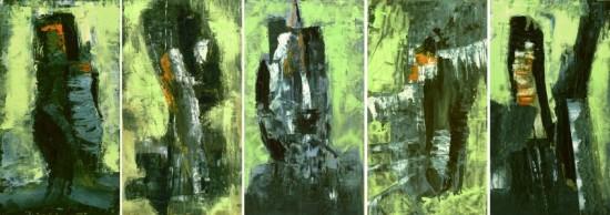 """5er Gruppe """"Der lindgrüne Tag"""" Öl - 2000 - je 46cm x 25cm"""