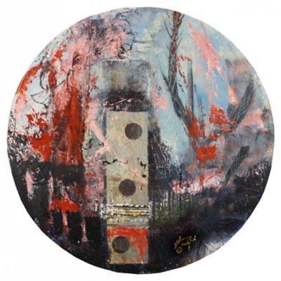 """paris spring"" - Acryl auf Holz - 2015 - D=50cm"