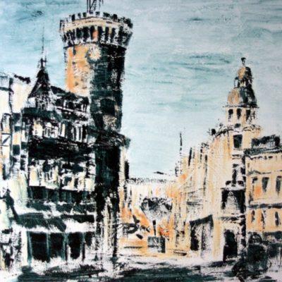 """Spremberger Turm1"" Acryl - 2011 - 100cm x 100cm"