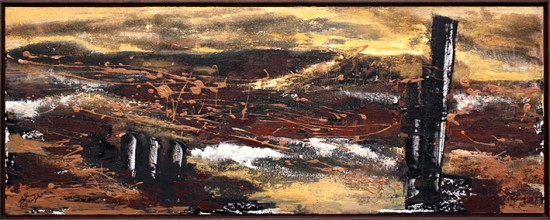 """""""new horizon"""" Acryl auf Holz mit Olivinsand - 2015 - 50cm x 130cm"""